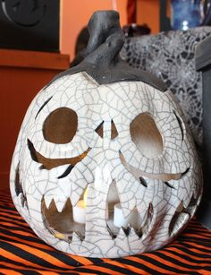 White Crackle Raku Jack-o'-lantern Pumpkin Halloween by ShellHawksCreations on Etsy