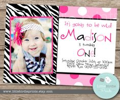 ZEBRA PRINT INVITATION Birthday Party Pink by littlebirdieprints, $15.00