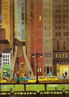"illustration jeunesse US : ""Town & Country"", Alice & Martin Provensen, transport urbain Children's Book Illustration, Graphic Design Illustration, Alice Martin, Edition Jeunesse, Town And Country, Illustrations And Posters, Art Design, Collages, Illustrators"