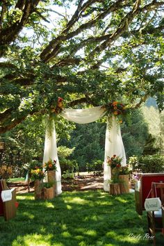 Colorful backyard wedding receptions - When you begin planning your wedding, look at using an arch or arbor because while it may not cost a lot money...