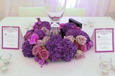 Pretty Purples — Full Bloom Table Centerpieces, Table Decorations, Bloom, Purple, Stylish, Pretty, Centerpieces, Center Table Decorations, Tablescapes