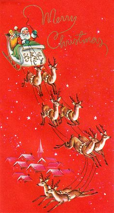 Santa & His Sleigh vintage Christmas card, I remember this card from childhood!!  dmy