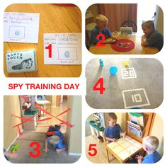 SPY TRAINING DAY 1. Spy ID cards - with real name, code name and their thumbprint.  2. Spy Memory Training - bring out a tray with 10 items and have them study the items for 1 minute. Then take away the tray and see how many items they can recall correctly.  3. Spy Laser Avoidance Training - use masking tape or red streamers to set up a laser obstacle course. After each turn through, tape up another laser for added difficulty :) 4. Grenade Target Practice - use masking tape to make targets…