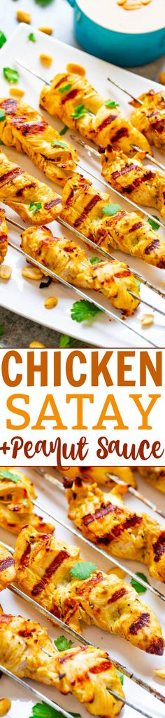 Easy Chicken Satay With Peanut Sauce – Look no further from this FAST and EASY recipe for authentic-tasting Thai chicken satay! The chicken is so tender and juicy and there's plenty of homemade PEANUT SAUCE to dip it into! Delicious Dinner Recipes, Appetizer Recipes, Appetizers, Thai Chicken Satay, Pork Satay, Grilling Recipes, Cooking Recipes, Homemade Peanut Sauce, Fast Easy Meals
