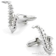 Silver Saxophone Cufflinks by Cufflinksman