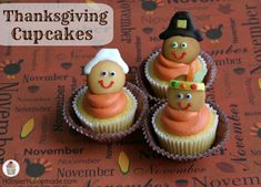 Thanksgiving Cupcakes: Pilgrims and Indians - Hoosier Homemade Thanksgiving Cupcakes, Turkey Cupcakes, Holiday Cupcakes, Yummy Cupcakes, Thanksgiving Turkey, Holiday Desserts, Thanksgiving Recipes, Winter Cupcakes, Turkey Cookies