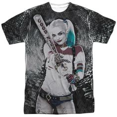 "Suicide Squad Tunnel Vision Adult Tee - Front Print Only - Officially Licensed - High Quality - Front Print Only - 100% Polyester / Fabric Weight 4.5 oz. - Rib Knit 3/4"" Collar - Wicking Properties"