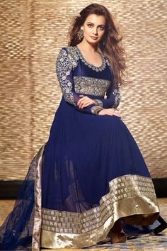 Dia Mirza Georgette Navy Designer Anarkali Salwar Suit