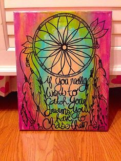 Dream catcher canvas painting by CraftDesignByJen on Etsy, Dream Catcher Canvas, Dream Catchers, Dream Catcher Quotes, Dream Catcher Painting, Diy Canvas, Canvas Art, Canvas Paintings, Arts And Crafts, Diy Crafts