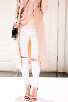 White ripped jeans and blush details.