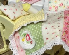 SHARON CUSTOM ORDER - On Sale Miniature Dollhouse Cradle and Quilt Set-1:12 scale
