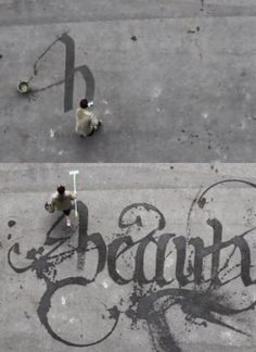 Idea for the budding calligrapher.broom/brushes/bucket of water. Calligraffiti by Niels Shoe Meulman Graffiti, Lettering Design, Hand Lettering, Street Art, Design Art, Graphic Design, Calligraphy Letters, Outdoor Art, Public Art
