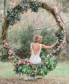 Rustic wedding grapevine large wreath decorated with greenery. Absolutely stunning rustic wedding decor and backless wedding dress Floral Wedding, Rustic Wedding, Wedding Flowers, Wedding Dresses, Woodland Wedding, Bridesmaid Dresses, Boho Wedding, Bridal Gowns, Wedding Country