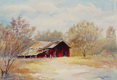 wlOld Red Barn in Fall.jpg (829×576) by Sue Lynn Cotton