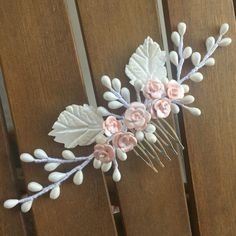 Headdress of cold porcelain bridal comb with pistils and leaves color nacre and pink roses. Bridal Headdress, Bridal Comb, Headpiece, Flower Hair Accessories, Wedding Hair Accessories, Clay Flowers, Flowers In Hair, Leather Ring, Hair Beads