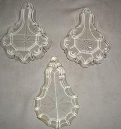 """C 37 set of 3 vintage Czech Glass 4""""x3""""  Lamps Art Parts lot"""