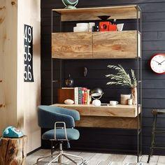 chambre ado garçon avec bureau en bois pour petit espace
