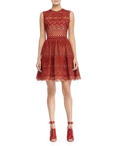 B34AL Elie Saab Sleeveless Fit-&-Flare Lace Dress, Cadillac