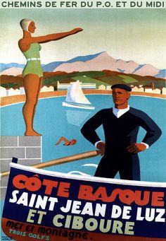Affiche chemin de fer PO et Midi - St Jean-de-Luz et Ciboure -