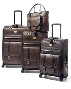 Matte-Brown Crocodile-Embossed Luggage Collection by Adrienne Vittadini at Horchow.