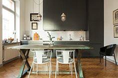 Gray, wood & white kitchen