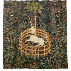 UNICORN,GOTHIC FANTASY FLOWERS,FLORAL MOTIFS SHOWER CURTAIN #homedecor #garden #bathroom #antique #art #horses