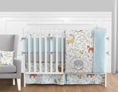 Woodland Toile 9 pc Crib Bedding set has all that your little bundle of joy will need. Let the little one in your home settle down to sleep in this incredible nursery set. This wonderful set will fit all cribs and toddler beds.