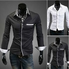 Men's Button Down Shirt with Contrasting Details