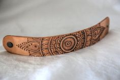 Items similar to Henna Leather Cuff - Freehand Pyrography Etched on Etsy Leather Carving, Leather Art, Leather Design, Leather Cuffs, Leather Tooling, Diy Leather Bracelet, Leather Jewelry, Beaded Jewelry, Gothic Jewelry