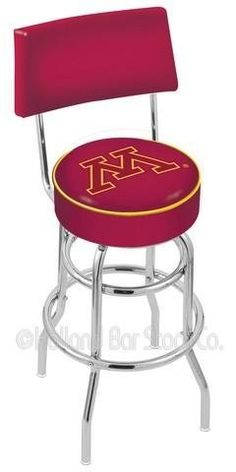 """25"""" University of Minnesota Counter Stool - Swivel With Double Ring and Back by NCAA. $119.99. Minnesota Gophers metal swivel bar stool with back. Seat boasts a 15"""" diameter, commercial grade vinyl 4"""" cushion with silk screened logo. The silk screening process uses specially formulated vinyl paints which guarantee the logo will not wear off. You will not find a higher quality logo seat on the market. 25"""" stool has a seat height of 25"""" and a back height of 39"""". 30..."""