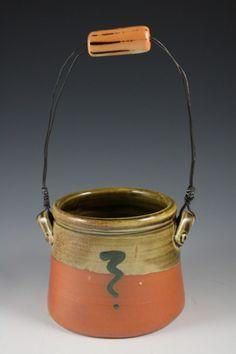 "Deborah Britt: Basket, 12"" x 6"", Wheel-Thrown with Hand-Built and Wire Handle, Salt-Fired Porcelain with Slip and Glaze Decoration, Cone Ten, 2011"