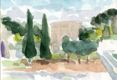 Anthony Lombardi  Colle Oppio 01 Roma  watercolour on paper 2014 18 x 12,5 cm