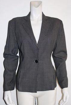 Anne Klein Stretch Black White Single Button Fully Lined Blazer Size 14…