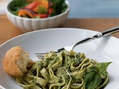 Macadamia Nut-Pesto Fettuccine | Meatless dishes, ready in 20 minutes or less