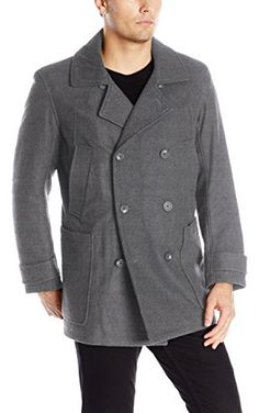 Marc New York by Andrew Marc Men's Mulberry Wool Peacoat with Removable Bib, Charcoal, Small ❤ Andrew Marc Men's Outerwear