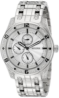 Bulova Men's 'Crystal' Quartz Stainless Steel Casual Watch (Model: 96C106) ** Be sure to check out this awesome product.