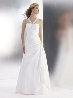 A-line Halter Neckline Beaded Strap Criss-Cross Back Asymmetrically Pleated Satin Wedding Dress-wa0287, $226.95