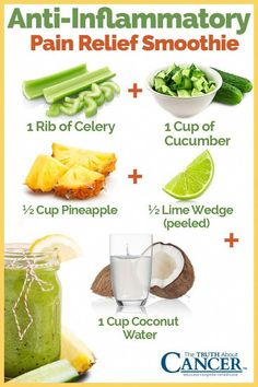 Here is a great smoothie which can help both with decreasing inflammation and relieving pain: 1 rib of celery, 1 cup of cucumber, cup pineapple, lime wedge (peeled), & 1 cup coconut water. Did you know that frankincense has proven scientifically t Healthy Juice Recipes, Healthy Juices, Detox Recipes, Healthy Smoothies, Healthy Drinks, Detox Juices, Green Juice Recipes, Juicer Recipes, Kid Smoothie Recipes