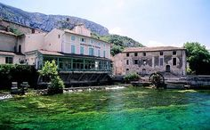 Fontaine-de-Vaucluse is where the Sorgue river gushes from apparently the most powerful source in France