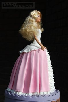Barbie Doll Princess Cake by Barbara Hoogendoorn Barbie Doll Birthday Cake, Barbie Cake, Birthday Cake Girls, Barbie Dress, Dolly Varden Cake, Cake Designs For Girl, Princess Barbie Dolls, Dress Cake, Fondant Tutorial