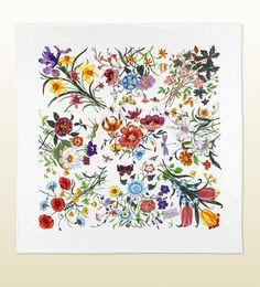 90x90cm white flora silk printed scarf