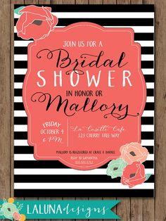 Rustic Bridal Shower Invitation Floral Black & by LaLunaDesigns