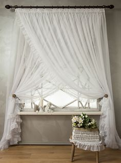 New bedroom curtains farmhouse window treatments ideas Fancy Curtains, Home Curtains, Bedroom Colors, Bedroom Decor, Closet Bedroom, Country Style Curtains, Farmhouse Window Treatments, Bedroom Layouts, Curtain Designs