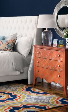 Add an eye-catching touch to your entryway or living room with this 3-drawer wood chest, showcasing a hand-painted scroll motif and scalloped apron. Get this and more at jossandmain.com