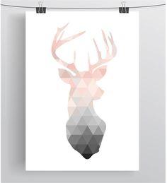 Blush Deer Print Deer Wall Art Deer Poster by PrintAvenue on Etsy Deer Wall Art, Triangle Print, Triangle Wall, Diy Art, Geometric Prints, Geometric Deer Wallpaper, Geometric Poster, Geometric Background, Geometric Patterns