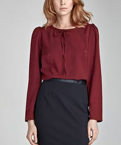 Loving this Maroon Tie Scoop Neck Blouse on #zulily! #zulilyfinds