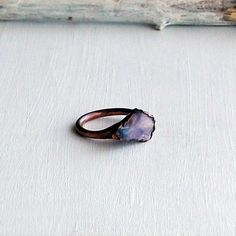 Opal Ring Gemstone Ring Birthstone Ring Stone Ring October Ethereal Purple Violet Natural Raw Mineral Artisan. $72.50, via Etsy.