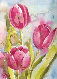 Fine Art Print of Abstract Pink Tulips Watercolor Painting