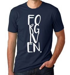 Forgiven • Mens • Navy • Athletic Fit • T Shirt • Christian Tess • Top • Gift Idea by KindredFeathers on Etsy https://www.etsy.com/listing/255365997/forgiven-mens-navy-athletic-fit-t-shirt
