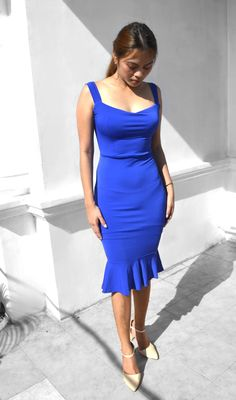 Ava Backless Frill Hem Dress – Heather Clothing Color Swatches, No Frills, Ava, Hemline, Royal Blue, Size Chart, Backless, Slim, Fabric